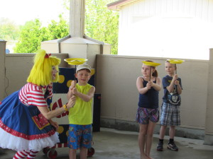 Clarol  enticed the children to join in
